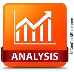 Analysis (statistics icon) orange square button red ribbon in middle