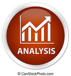 Analysis (statistics icon) premium brown round button