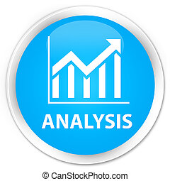 Analysis (statistics icon) premium cyan blue round button