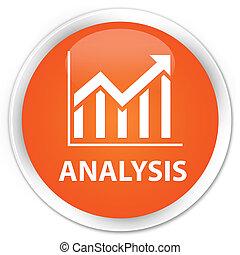 Analysis (statistics icon) premium orange round button
