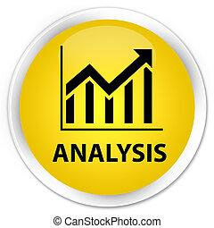 Analysis (statistics icon) premium yellow round button