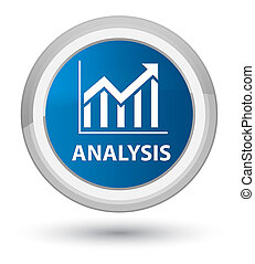 Analysis (statistics icon) prime blue round button