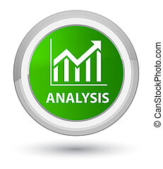 Analysis (statistics icon) prime green round button