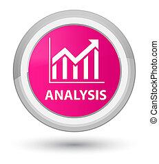 Analysis (statistics icon) prime pink round button