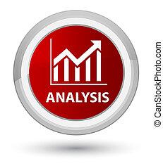 Analysis (statistics icon) prime red round button
