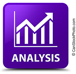 Analysis (statistics icon) purple square button