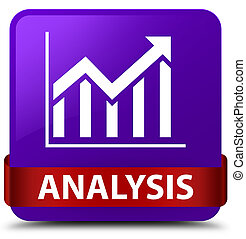 Analysis (statistics icon) purple square button red ribbon in middle
