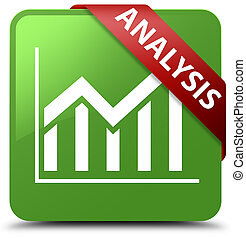 Analysis (statistics icon) soft green square button red ribbon in corner