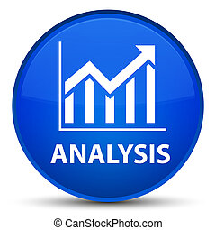Analysis (statistics icon) special blue round button