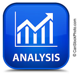 Analysis (statistics icon) special blue square button