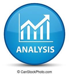 Analysis (statistics icon) special cyan blue round button