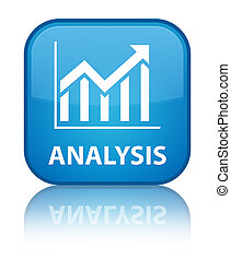 Analysis (statistics icon) special cyan blue square button