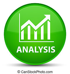 Analysis (statistics icon) special green round button