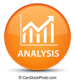 Analysis (statistics icon) special orange round button