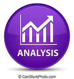 Analysis (statistics icon) special purple round button