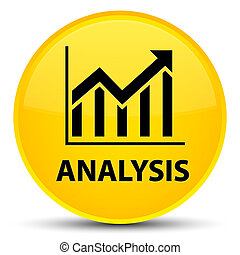 Analysis (statistics icon) special yellow round button