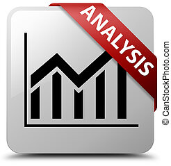 Analysis (statistics icon) white square button red ribbon in corner