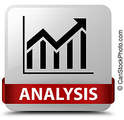 Analysis (statistics icon) white square button red ribbon in middle
