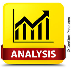 Analysis (statistics icon) yellow square button red ribbon in middle