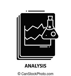 analysis symbol icon, black vector sign with editable strokes, concept illustration