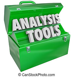 Analysis Tools words in 3d letters in a green metal toolbox to illustrate measurement, evaluation, examination or consideration of a person, company or data