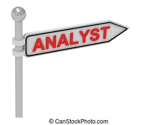 ANALYST arrow sign with letters on isolated white background