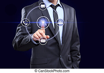 Analyst click on button with text data mining.
