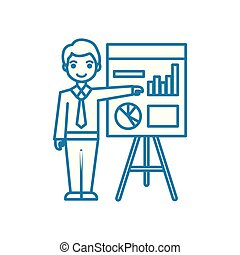 Analyst linear icon concept. Analyst line vector sign, symbol, illustration.