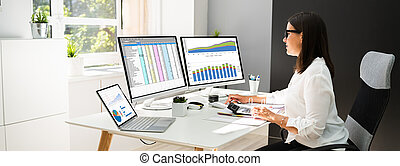 Analyst Working With Spreadsheet Business Data