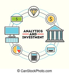 analytic and investments flat icon vector illustration...