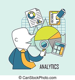 analytic concept: businessman checking data and chart in...