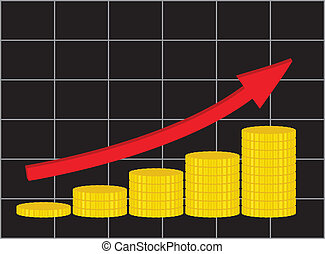 analytic diagram showing increase of income vector illustration