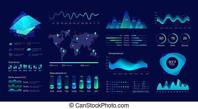 analytic, interface, tableau bord, vecteur, ui., technologie, utilisateur, visualisation, données, charts., panneau, diagrammes, futuriste, éléments