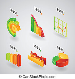 analytical charts for infographics - Colorful collection of...