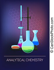Analytical chemistry concept with laboratory glassware with ...