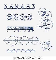 analytics, 商业财政, 统计, infographics, 心不在焉地乱写乱画, 手, 画, elements., 概念, -, 图表, 图表