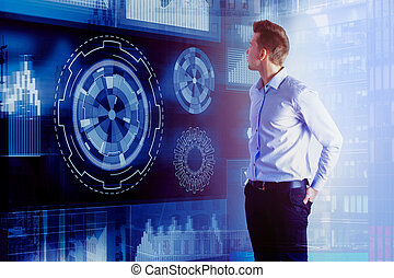 analytics, 概念, 未来派, 革新