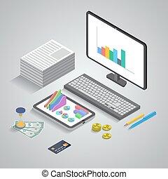 analytics, 3d, empresa / negocio, isométrico, aplicación, ...