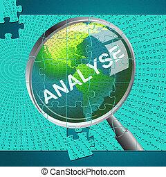 analytics, analizzare, analisi, indica, magnificatore, dati