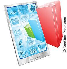 analytics, app, concetto, telefono