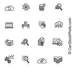analytics, base de datos, negro, iconos