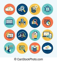analytics, base données, plat, icônes