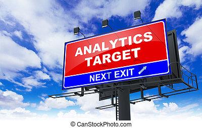 analytics, bersaglio, iscrizione, su, rosso, billboard.