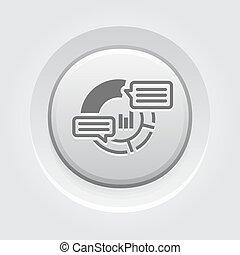 analytics, bottone, design., icon., grigio