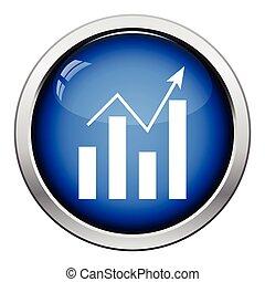 Analytics chart icon. Glossy button design. Vector...