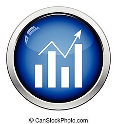 Analytics chart icon. Glossy button design. Vector...