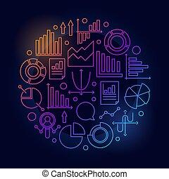 Analytics colorful round illustration
