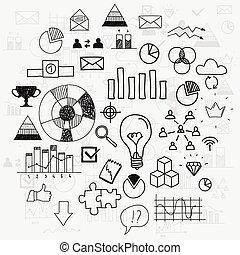 analytics, communie, voortgang, doodle, financiën, zakelijk, learnings, scetches, trekken, bewindvoering, infographic, hand, concept