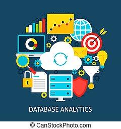 analytics, concept, base données, plat