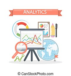 analytics, concepto, illustration.